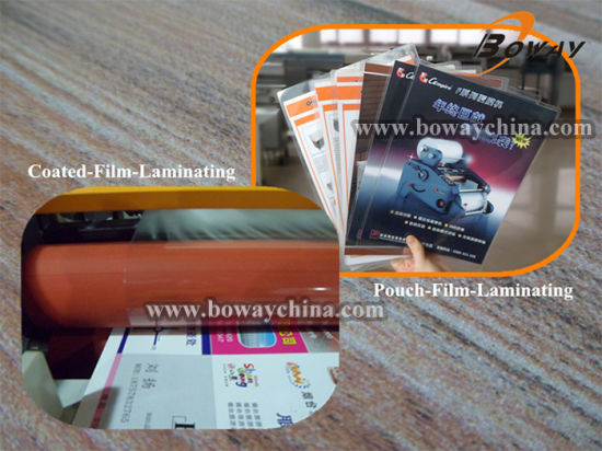 Boway 350mm Hot Coated Roll Film Cold Pouch Film Laminatior Laminating Lamination Machine pictures & photos