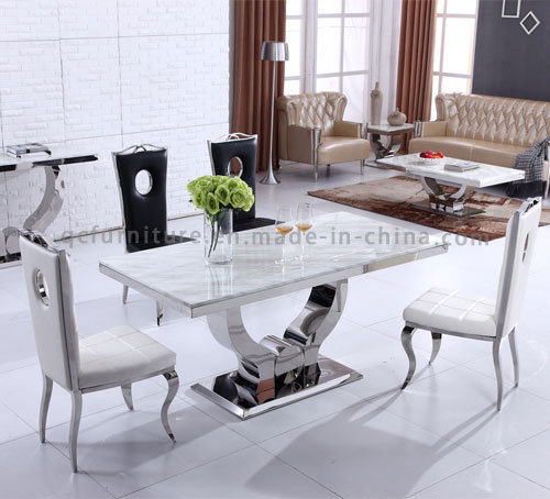 Modern Size 10 Seater Dining Room Table White Marble