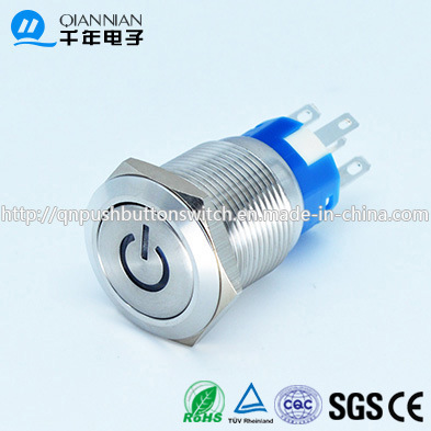 Qn19-C5 19mm Character Illuminated Type Momentary|Latching Flat Head Power Blue 12V Latching Stainless Switch
