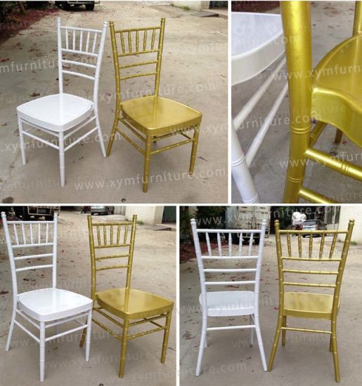 Hotel Hot Sale Gold Chiavari Chair with Seat Cushion pictures & photos