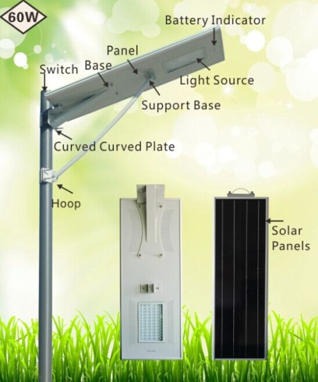 60W All in One Integrated Solar Street Light