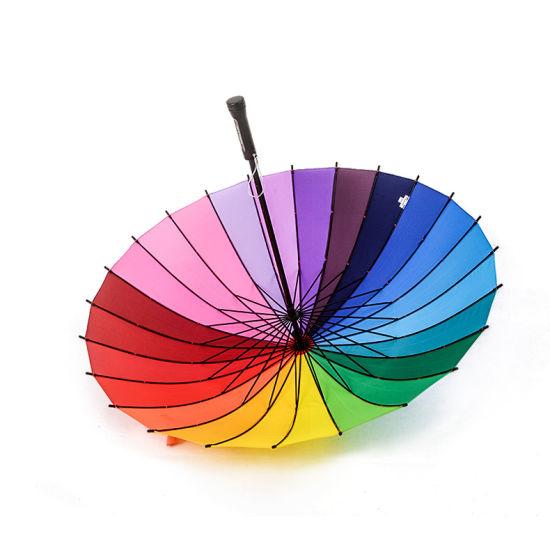 Creative 24 Long Handle Umbrella Rainbow Umbrella Children Umbrella Advertising Custom Wholesale