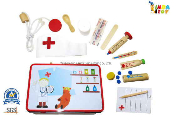 Intellectual Educational Wooden Toys for Kids Gift, 22083 Doctor Playset in Tin Suitcase From Lindatoy