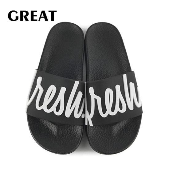 Greatshoe PVC Men's Slide Sandals Summer Sport Slide Sandals Man Custom Black Slipper Man Slide Sandal Footwear