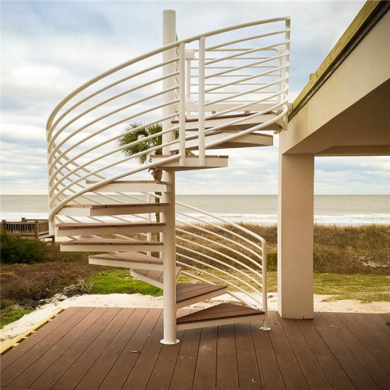 Outside Stair Steel Railing Design Wood Spiral Staircase