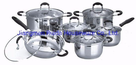 12PCS Stainless Steel Cookware Set with Glass Lid with Black Silicone Handle