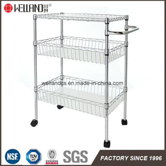 Chrome Metal Home Kitchen Wire Basket Rack Cart Trolley