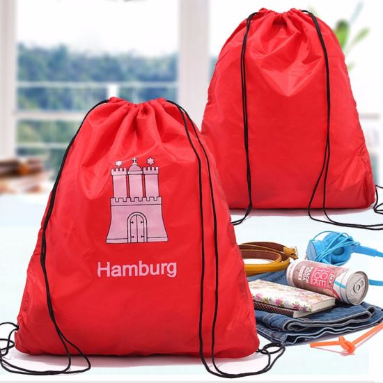 Custom Reusable Drawstring Bags Red Promotional Polyester Drawstring Bags pictures & photos