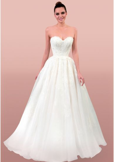 Sweetheart Lace Beading Open Back A-Line Wedding Dress Bridal Gown