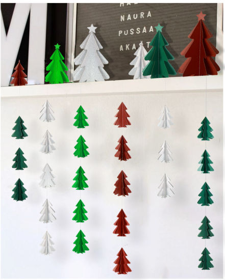 Christmas Wall Hanging Decorations.10 Three Dimensional Glitter Paper Flower Christmas Tree Strings Hanging Decorations Christmas Decorations Party Wall Decoration
