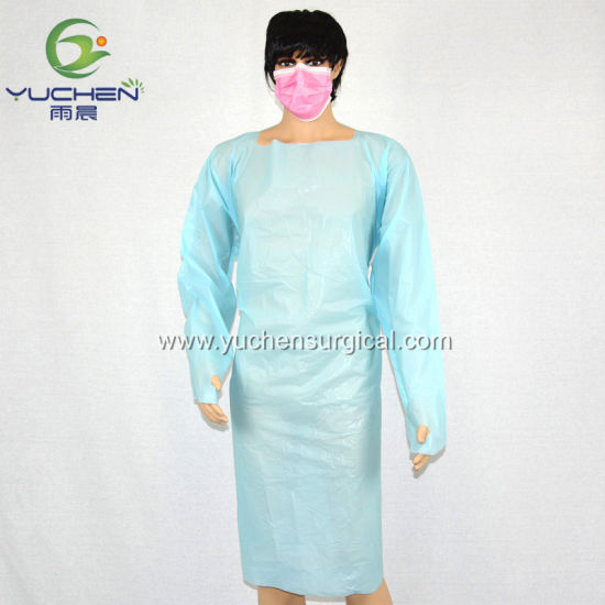 Visitor CPE Gown Hospital Protective Disposable Medical CPE Isolation Gown