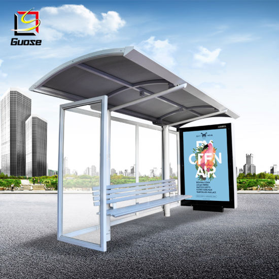 Steel Structure Outdoor Furniture Advertising Light Box Display Bus Stop Roofing Materials Solar Bus Shelter With Bench