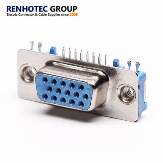 D-SUB Hot 15pin VGA Blue Female Connector with Harpoon