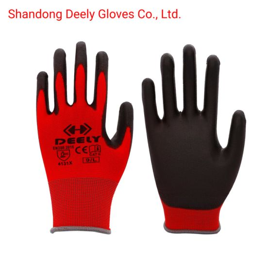 Best 18g Gray PU Coated Polyester Oil Proof Gloves