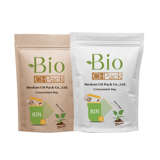 Eco Food Snack Nut Zipper Stand up Pouch Packaging Compostable Zip Lock Coffee Tea Kraft Paper Doypack Biodegradabale Bag