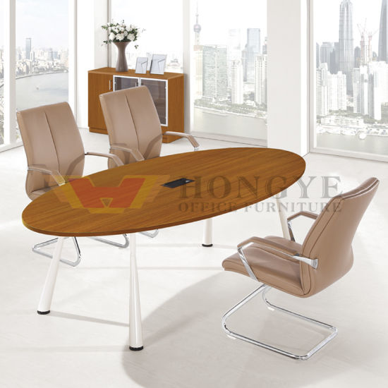 Modern Light Color Functional Office Meeting Oval Business Table Hy H08 Pictures