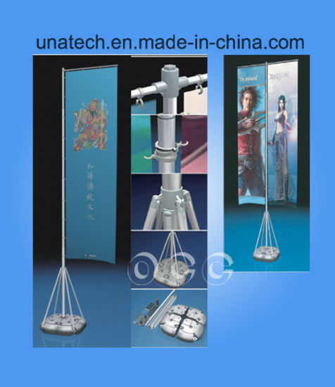 Advertising Promotional Aluminum Screen Frame Telescopic Water Plastic Base Flag Pole pictures & photos
