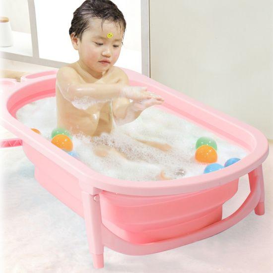 2018 New Design Baby Foldable Bathtub Plastic Inflatable Child Size Bath Tub  Baby Folding Bathtub For Kids Toddler