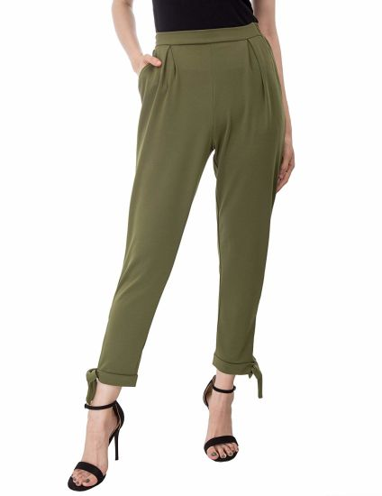 Stylish Ladies High Waist Fit Pants Bow Tie Ladies Casual Legging Slim Trousers