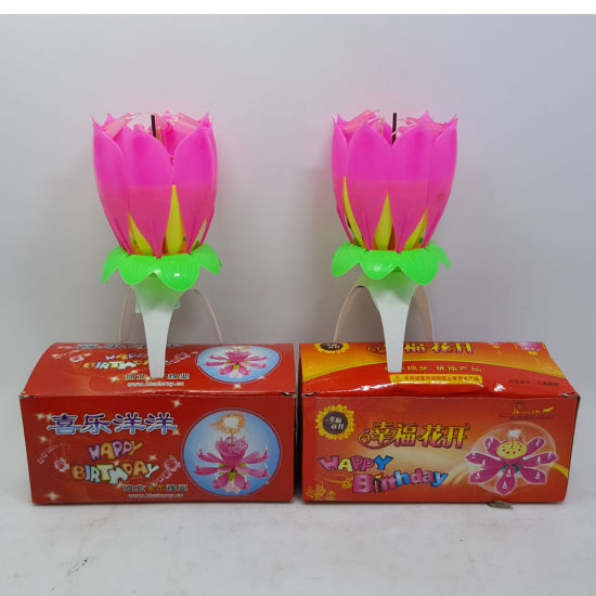 Cheap Pink Color Lotus Fireworks Birthday Candles