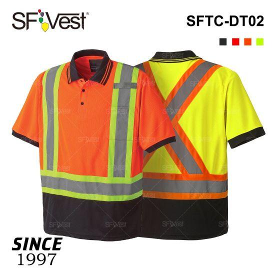 CSA Security High Visibility Polo Collar Reflective Safety T-Shirts