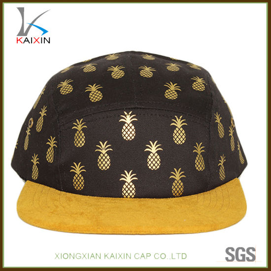 China Custom Pineapple Printing Suede Brim Plain Blank 5 Panel Hat ... 3ea861fb8c5f