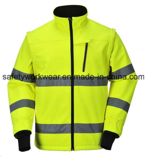 Reflective Safety Clothing Detachable Sleeve High Visibility Softshell Workwear Jacket