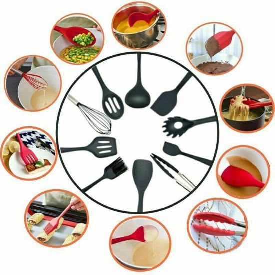10 PCS Kitchenware Silicone Heat Resistant Cooking Utensil Non-Stick Baking Tool