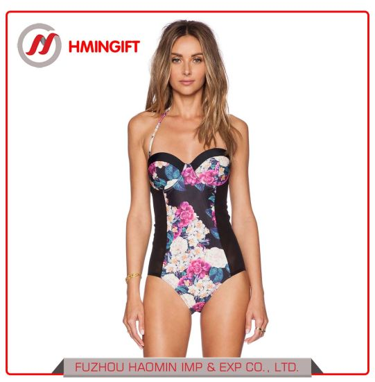 Top Selling Wholesale Sexy Ladies' Black Ethnic One-Piece Swimwear Women's Beachwear