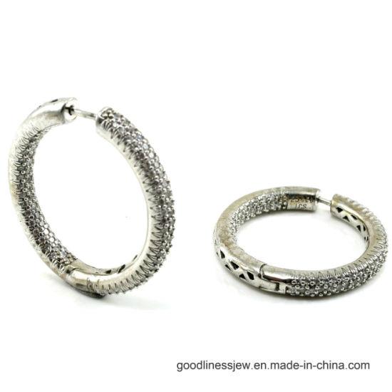 Womens Sterling Silver 925 Rhodium Plated Round CZ Hoop Earrings