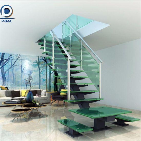 Modern Straight Staircase System Mild Steel Stringer Glass Stairs Design