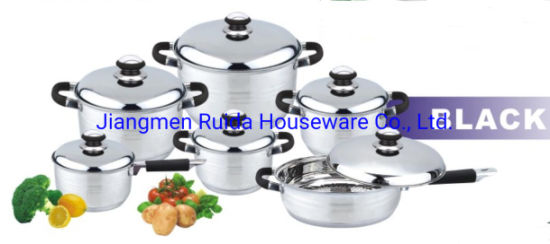 12PCS Stainless Steel Cookware Set with Black Silicone Handle in Stainless Steel Lid