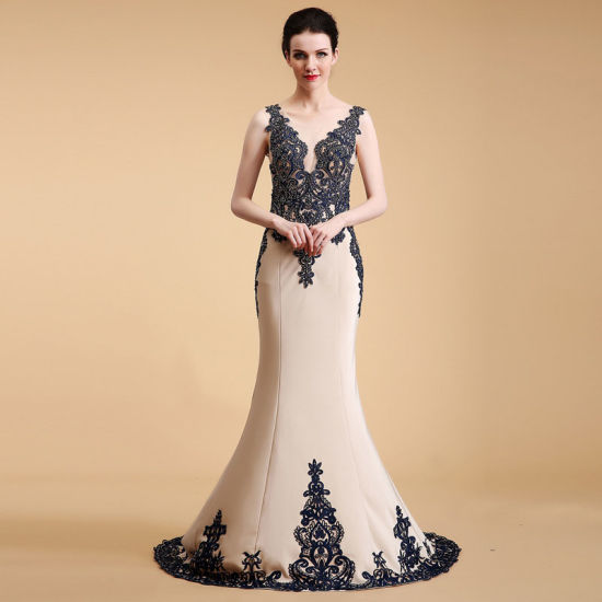 Elegant Sleeveless Embroidered Lace Top and Edge Mermaid Evening Dress with Long Lace Shawl pictures & photos