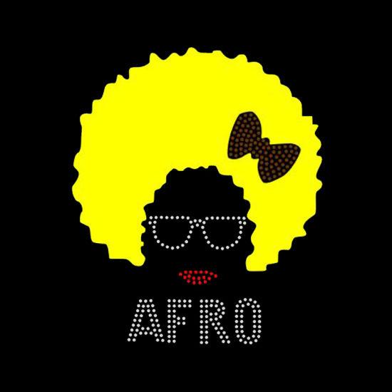 Glitter Wholesale Custom Afro Girl Hotfix Rhinestone Motif