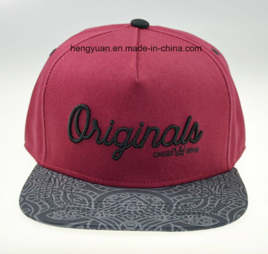 Wine Red Printed Embroidery Baseball Cap Flat Cap (HY18052507) pictures & photos