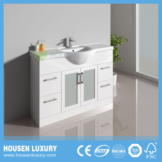 Pvc Or Mdf Material Belly Basin White Paint Can Be Customized Frosted Gl Door Bathroom Cabinet Hs S1102 1200
