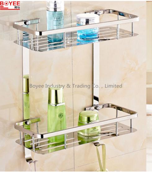 China 2 Tiers Shower Rack / Elegant Chromed Metal Wire Bathroom ...