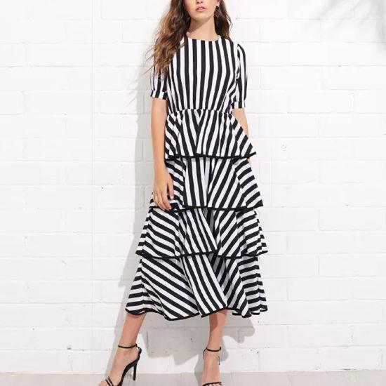 Fashion Clothing Lady Elegant High Waist Striped Layered Dress