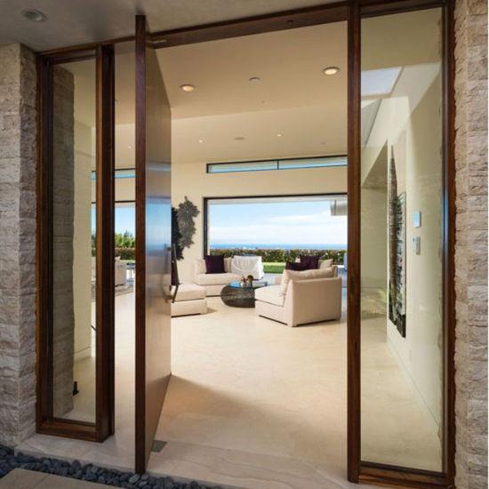 China Building Material Modern Luxury Wood Panel Pivot Exterior Door