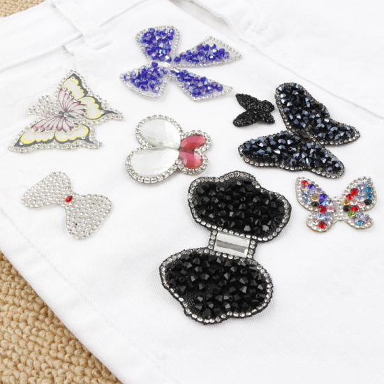 Custom Hotfix Diamond Butterfly Embroidered Patches High Quality Embroidery Motif
