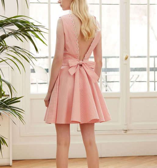 Pink Striped Lace Hollow Dress Women Casual Vintage Dress with Newest Design