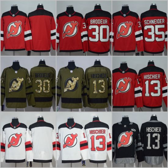 557241001 Taylor Hall Nico Hischier Cory Schneider New Jersey Devils Hockey Jerseys
