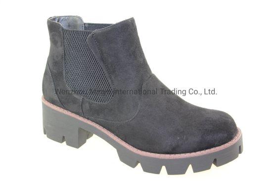 Fashion Style Non-Slip Chunky Heel Pantshoes PU Ladies Antle Boots