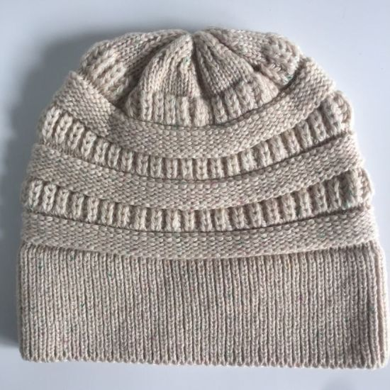 Popular Winter Fashion Adult Knitted Acrylic Wool Nylon Beanie/Cap