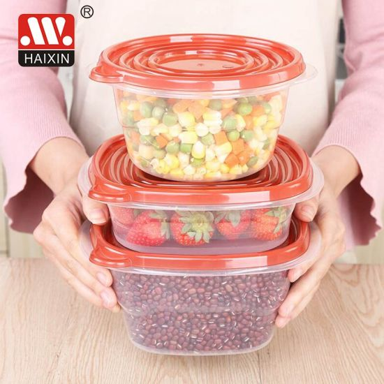Rectangle Transparent Plastic Food Container for Food Storage Kitchenware