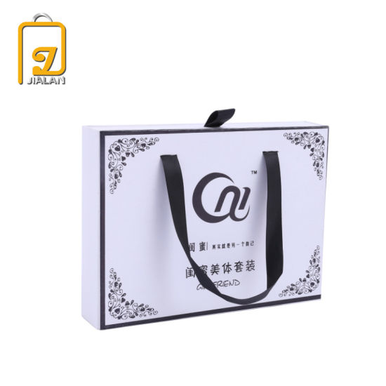 Customized with Logo Drawer Gift Paper Box with Ribbon Handle
