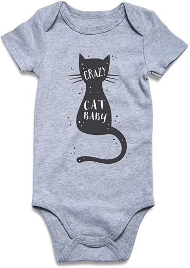 Bkd Fashion Long Sleeve Black Color Crazy Cat Baby Onesie