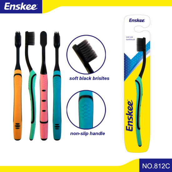 Adult Toothbrush with Soft Black Bristles