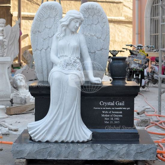 Marble Monument Headstone with Grave Statues (GSME-112) pictures & photos