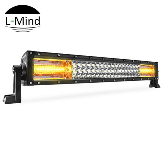 22inch white & amber flash triple row flood spot combo led light bar for  trucks with wiring harness kit